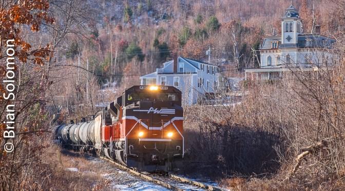 Providence & Worcester SD70M-2s lead an Empty Ethanol—Monson, Massachusetts.