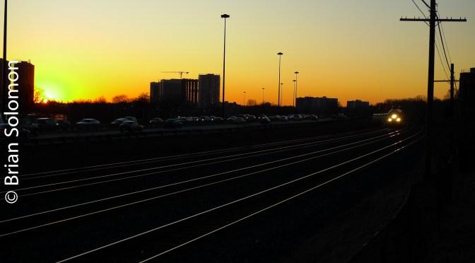 GO sunset—Sunnyside, Toronto.