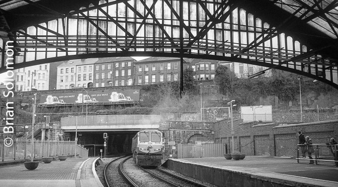 Cork's train shed in black & white—plus travel notice.