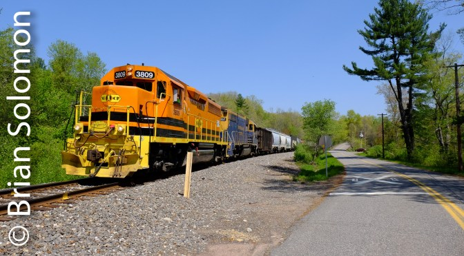 New England Central—Southward with 608 on May 17, 2017.