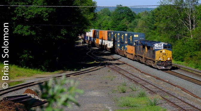 Three Quarter Light; CSX's Q012 Intermodal freight at East Brookfield
