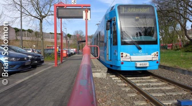 Three views of Köln trams at Bruck Mauspfad.