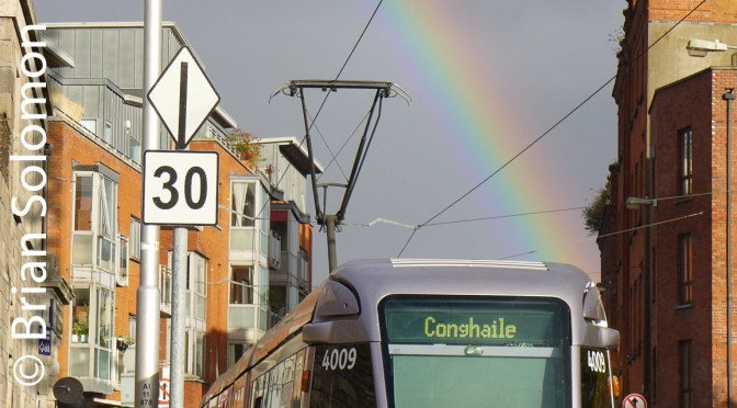 Rainbow with Dublin's LUAS-3 Photos.