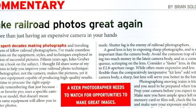 November 2017 TRAINS Magazine Features my Column on Photography