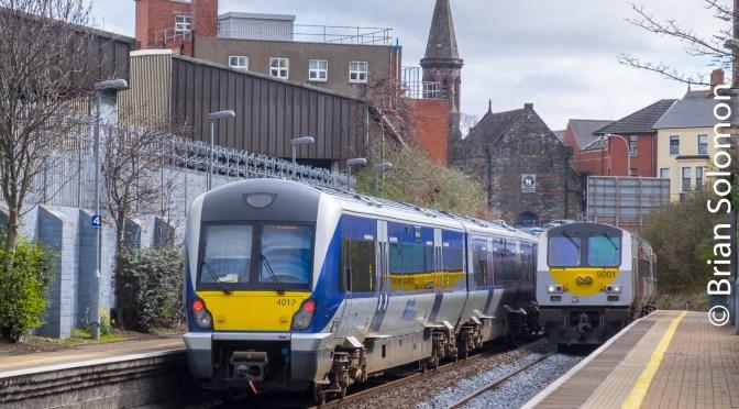 Belfast-Dublin Enterprise at City Hospital—4 Views.