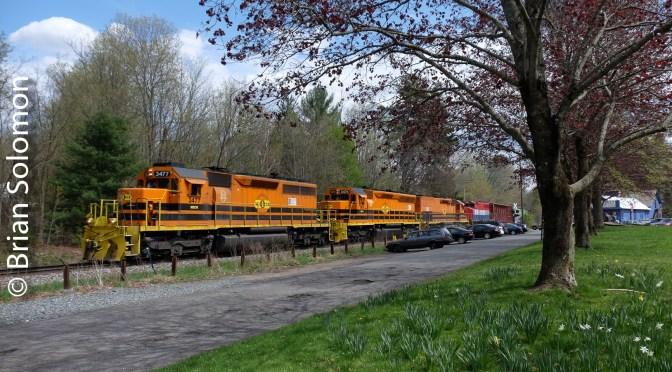 Spring at Cushman: New England Central's northward 611.