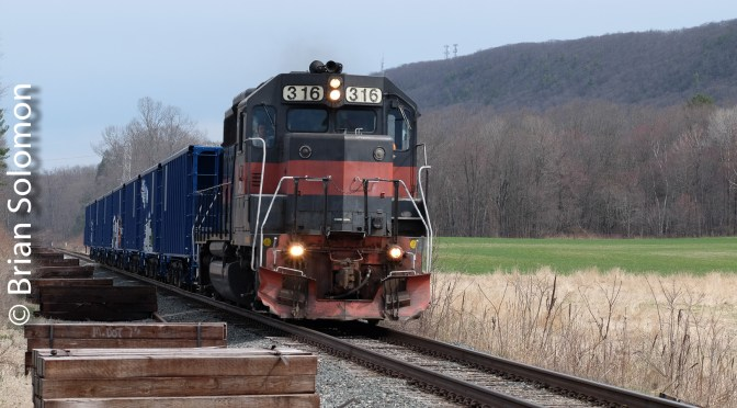 Pan Am's ED-4 Rolls Ballast on the Connecticut River Main Line.