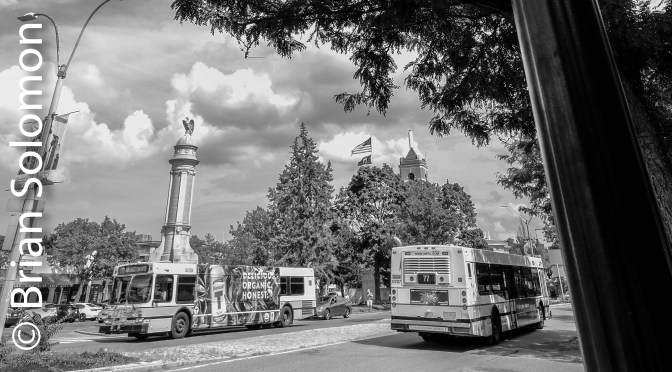 Bus Meet on Digital Black & White.