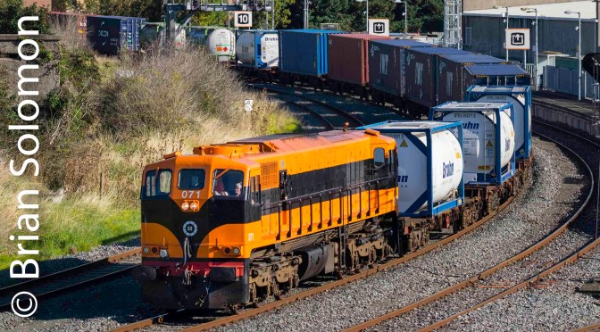 Today, 12 September 2018,  Irish Rail 071 worked the down IWT Liner.