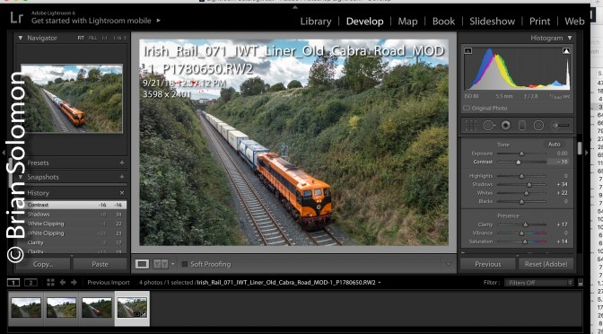 Irish Rail 071 in Retro Orange and Lessons in Exposing for RAW Adjustment