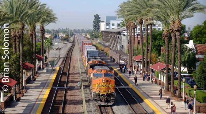 BNSF Stack Train at Fullerton, California—November 2018.