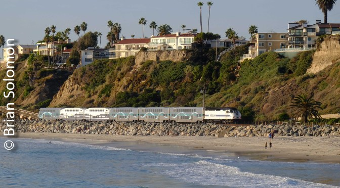 4 Views: Los Angeles Metrolink at San Clemente Pier, California.