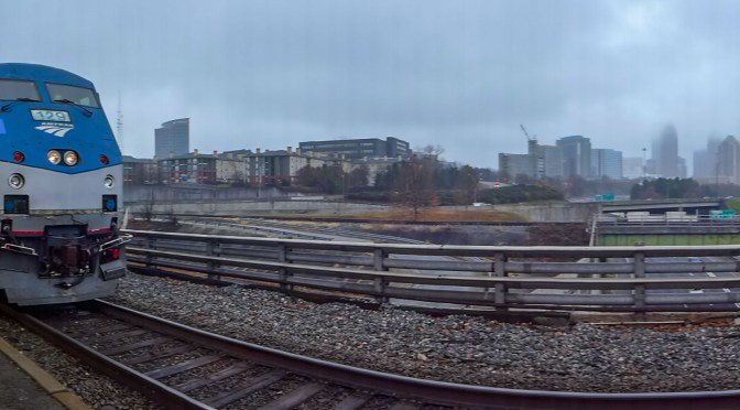 Misty 220 degree Panoramic View at Peach Tree Station, Atlanta.