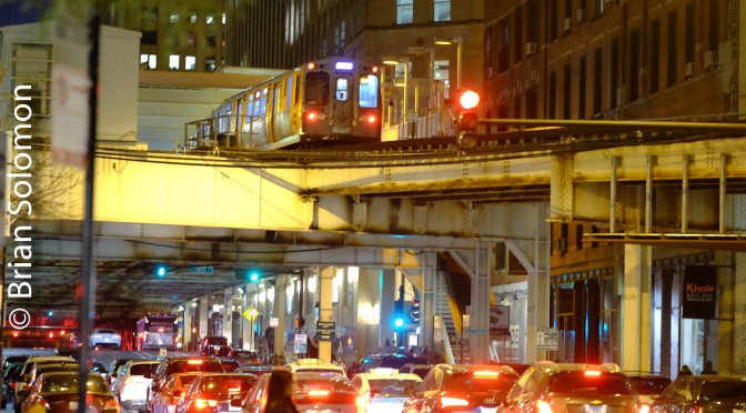 Chicago: Hubbard and North Wells, CTA at Night.