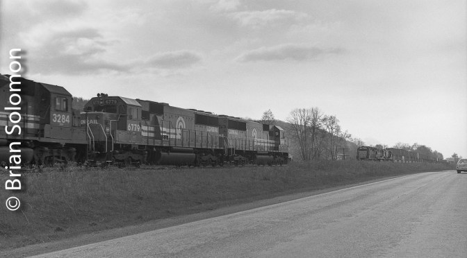 Conrail Classic—SD50s on the move! A grab shot along the old Erie Railroad.