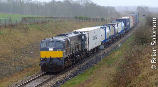 Freight in the Mist; Irish Rail 082 Leads Containers in Co. Roscommon.