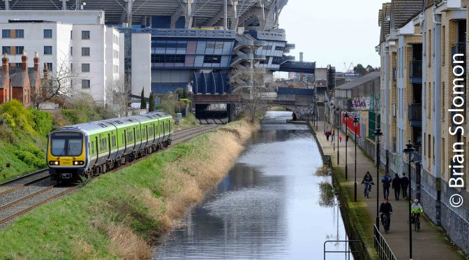 Trains along the Royal Canal in Drumcondra.