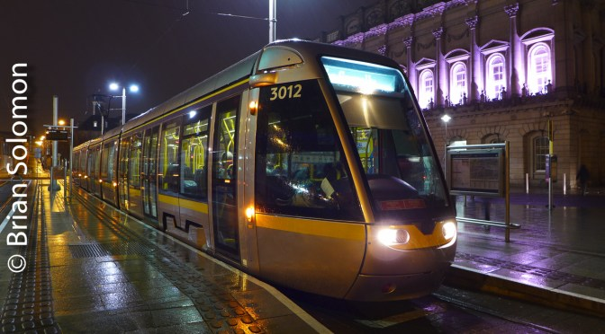 LUAS in the Rain at Heuston.