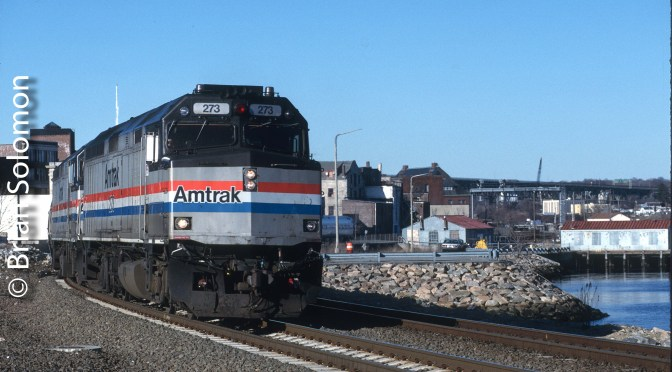 Classic Chrome: Amtrak F40s at New London, Connecticut.