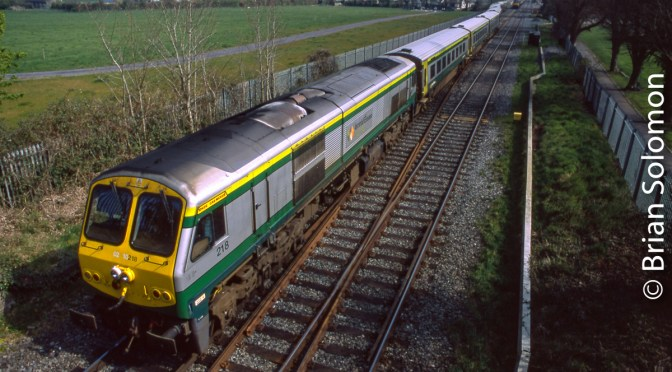 Irish Rail Mark-4 Approaching Kildare.