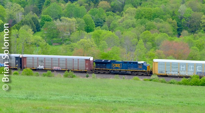 Autos East with Mid-Train Locomotives: CSX Q264 at CP79—3 Digital Photos.