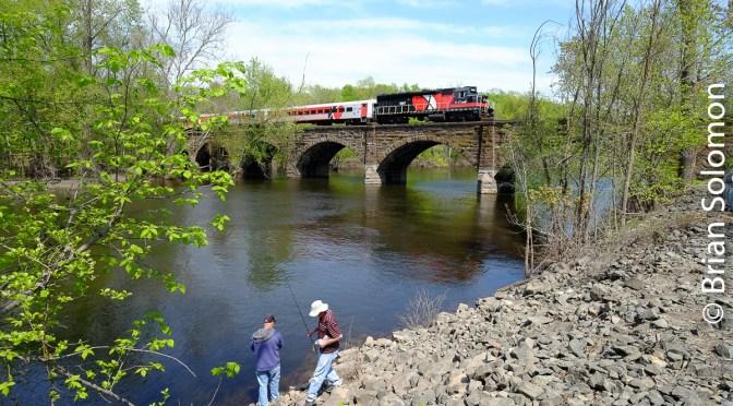 CT Rail, Farmington River and Fishermen.