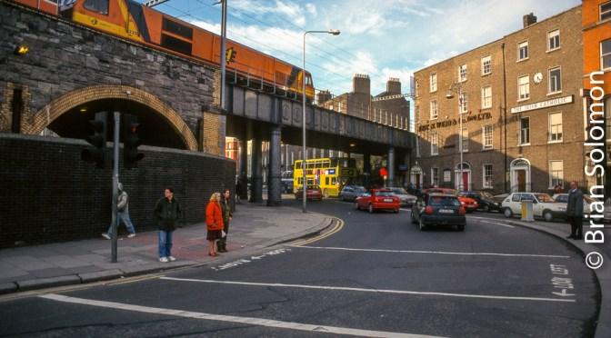 Irish Rail 225 Crosses Gardner Street in Dublin.