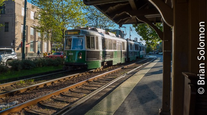 MBTA Glinty Green Line at Coolidge Corner.