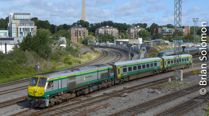 Irish Rail 222 with Mk4 x 2.