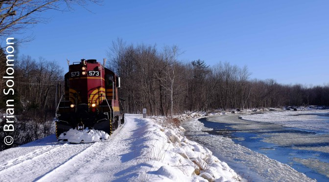 Maine Central 573 at Milepost 64—Two photos.