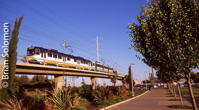 Sacramento Light Rail; Two Chromes.