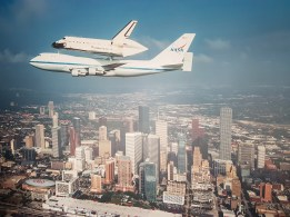 Shuttle over Houston skyline -photo of photo