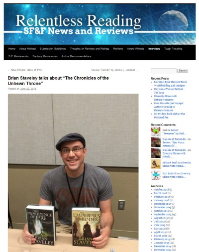 Brian Staveley with Relentless Reading at Phoenix Comicon