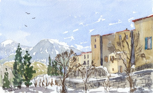 Snow at Gourdon in Provence