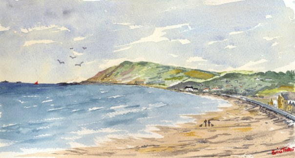 Watercolour of Ballygally, 11 by 7 inches.