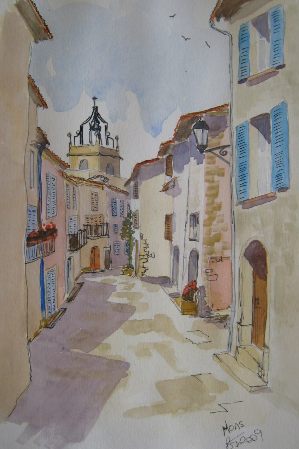 High op in the mountains is the town of Mons en Provence