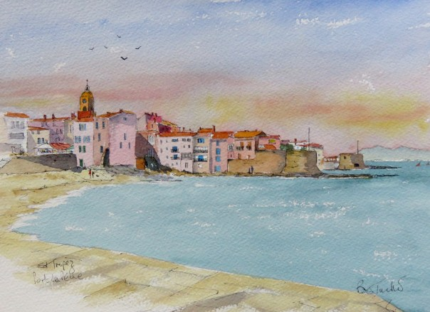 Porte de Peche at St Tropez. Watercolour 14 by 10 inches.