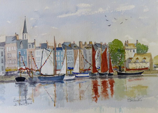 Honfeur, the Barge Regatta Watercolour 14 inches by 10.