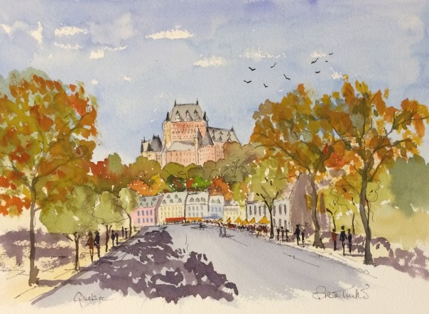 Quebec. The Frontenac Hotel from the old town