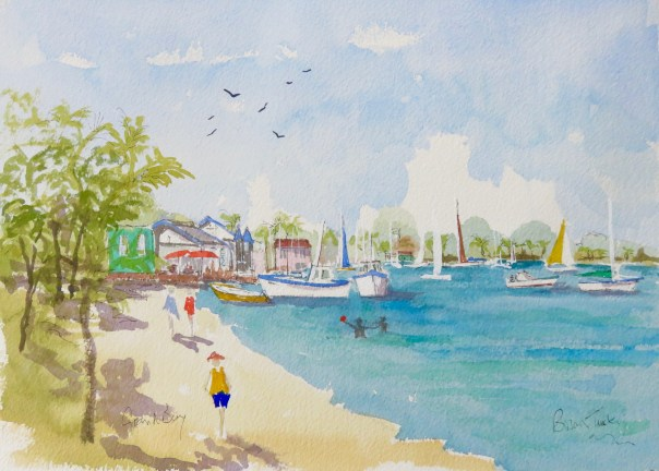 Grand Bay, at the north of Mauritius. Watercolour 14 by 10.