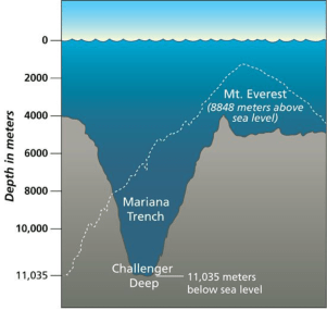 Deepest ocean trench compared to the highest mountain
