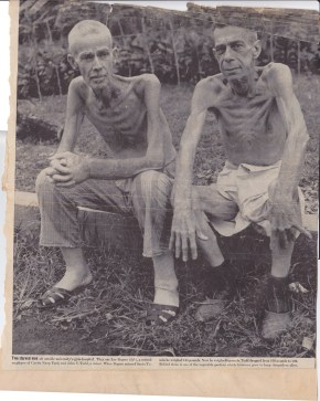Two American internees after they were freed by the U.S. Army. NEITHER OF THESE MEN IS MY GRANDFATHER, FYI.