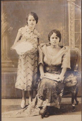 My grandmother (standing), with an unknown acquaintance, 1920s