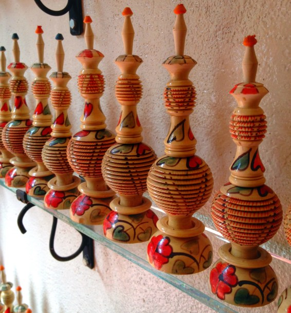 Wood carvings, Atlas Mountains, Morocco