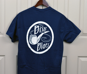 t shirt-navy blue-white logo on back-medium