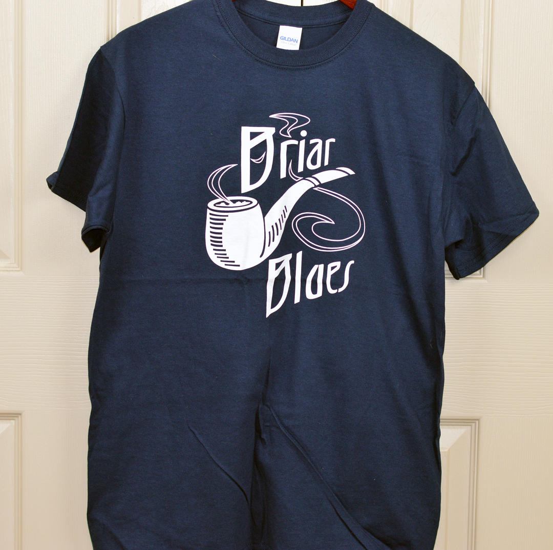 t shirt-navy blue-white logo on front-medium