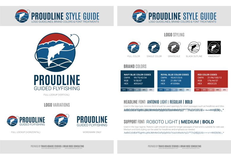 Proudline Guided Flyfishing style guide and brand book