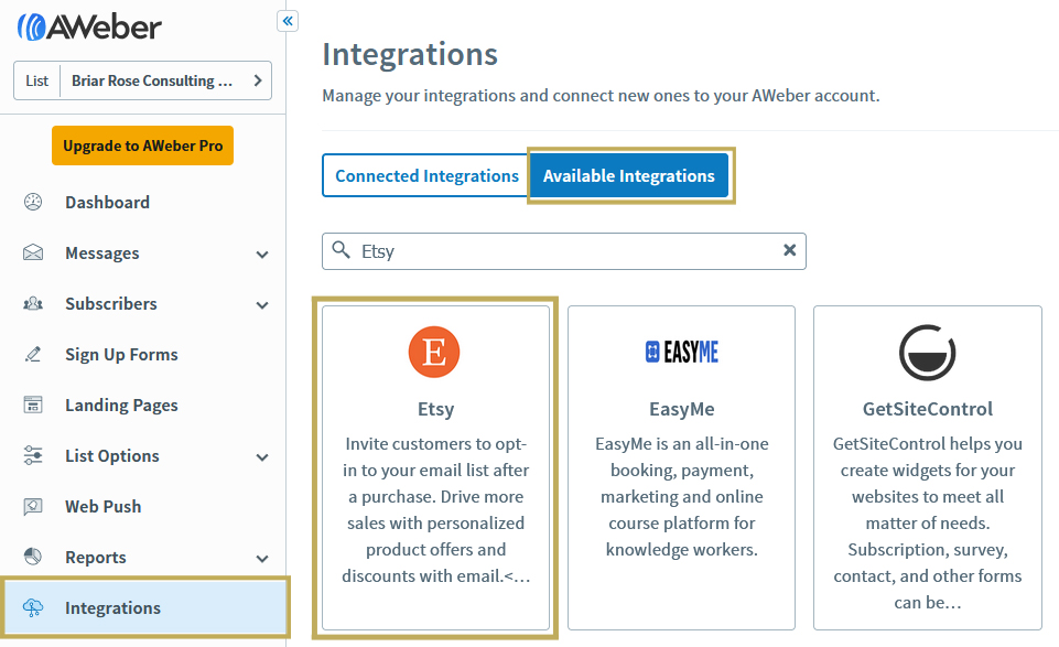 """Navigate to """"Integrations"""" from your AWeber dashboard"""