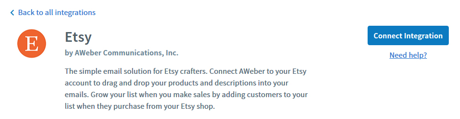 Connect the Etsy AWeber integration