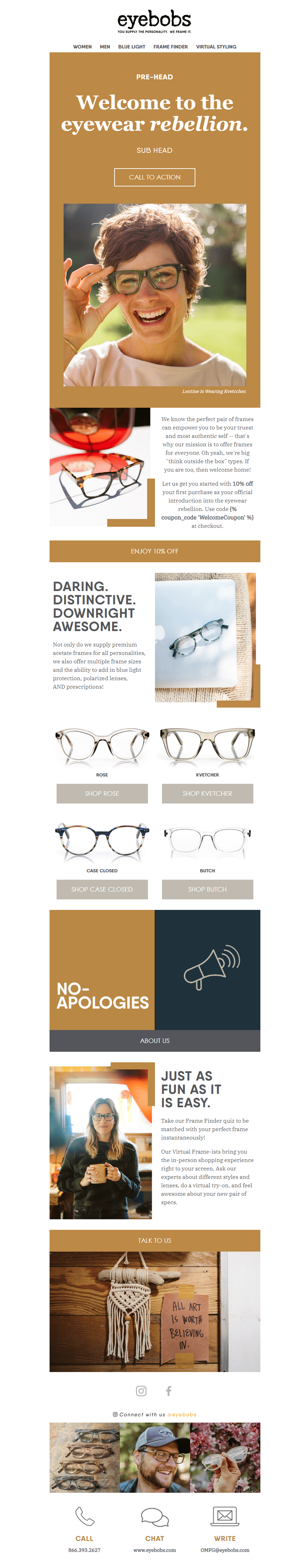 eyebobs Responsive Email Template for Klaviyo